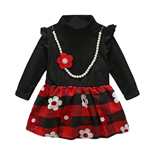 [GBSELL Little Girl Kids Baby Red Flower Plaid Jewelry Dress Clothes (Black, 3/4T)] (Costumes Jewelry Prices)