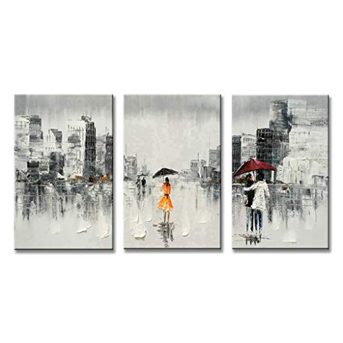 EVERFUN ART Abstract Wall Art Hand Painted Modern People Cityscape Oil Painting on Canvas Decorative Artwork Home Decoration Stretched and Framed Ready to Hang (48