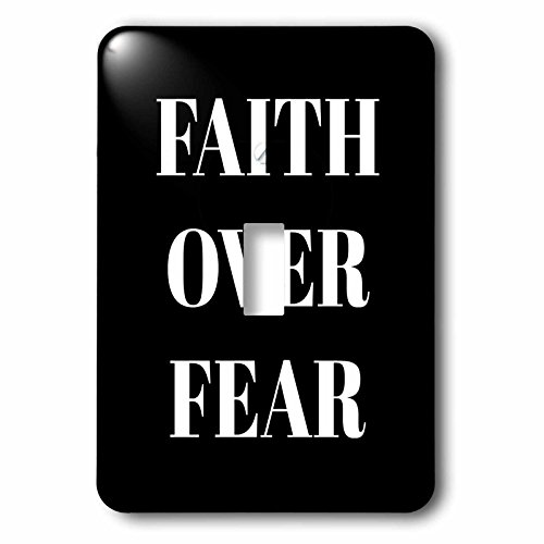 3dRose Xander inspirational quotes - Faith over fear, white letters on a black background - Light Switch Covers - single toggle switch (lsp_265910_1) by 3dRose