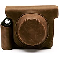 HelloHelio Vintage Leatherette limited Edition groove Bag for Fujifilm Instax Wide 300 Instant Film Camera Case with strap - Brown