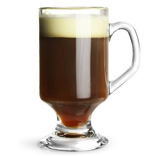 Arcoroc 4 Irish Coffee Gläser, Eiskaffeebecher, 290ml, mit Henkel auf Fuß, gehärtetes Glas