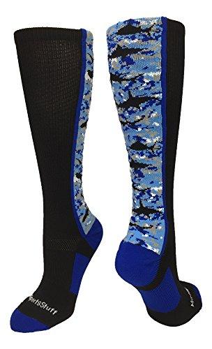 MadSportsStuff Digital Camo Shark Socks Over The Calf (Black/Blue/White, Large)