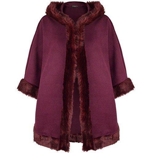 LADIES WOMENS FUR CAPE COAT JACKET PONCHO HOODED WINTER WARM DUFFLE COLLAR SHAWL Burgundy