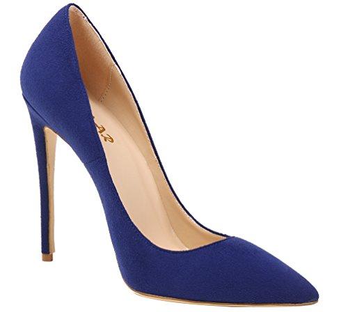 Blau Wildleder Escarpins Femme pour AOOAR AP09N nxaqAa4