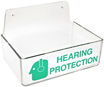 """Brady 2019 3"""" Height, 9"""" Width, 6"""" Depth With 6"""" Height, Backplate, Acrylic, Green On Clear Color Compact Ear Plug Dispenser Without Cover, Legend """"Hearing Protection (With Picto)"""""""