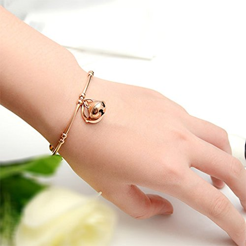 Menoa Cuff Bangle Bracelet Bell Exquisite Rose Gold Plated Stainless Steel Lover Mom Gift