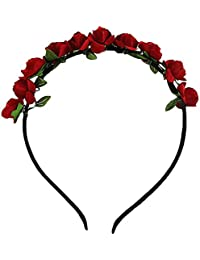Boho Style Women's Rose Flower Crown Headband Wedding Garland Floral Hairband