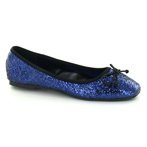 Star Womens/Ladies Glitter Bow Square Toe Ballet Shoes Gold esmMxL