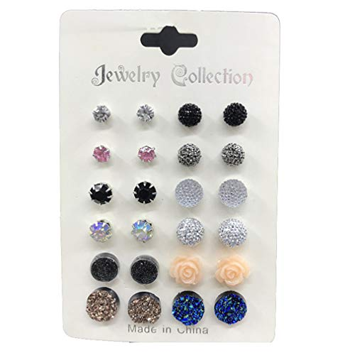 DONGMING 12 Pairs/Set Crystal Round Rose Flower Stud Earrings for Women Girls Rhinestone Ear Studs Fashion Earrings Set -