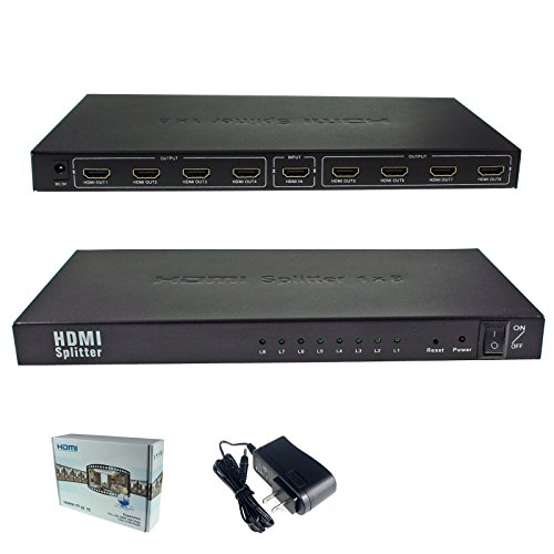 1x8 8 Ports HDMI Powered Splitter for Full HD 1080P & 3D Support (One Input to Eight (System 1 Box)