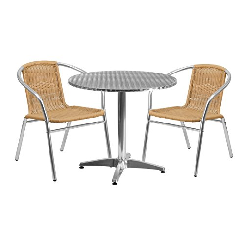 MFO 31.5'' Round Aluminum Indoor-Outdoor Table with 2 Beige Rattan Chairs