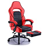Aminiture Executive High Back Sport Racing Style Gaming Office Chair Recliner PU Leather Swivel Computer Desk Armchair with Footrest (Red)