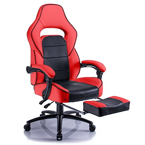 41zgoIMTczL - Aminiture Big and Tall Gaming Chair, Executive Reclining Racing High Back PU Leather Swivel Chair, Computer Desk Lumbar Support Home Office Chair with Footrest