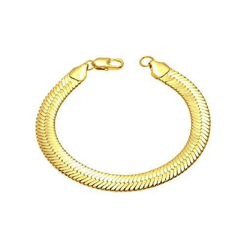 Herringbone Chain Bracelet - Angelcrab Punk Hip Hop 10mm Herringbone Chain Bracelet,8'' inch (Gold)
