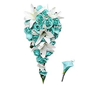 Angel Isabella, LLC Tiffany Blue Color Spa(David's Bridal Color) Corsage Cascading Bouquet Boutonniere 6