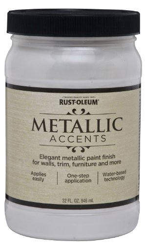 Metallic White Paint (Rust-Oleum Metallic Accents 253611 Decorative 32-Ounce Quart Water Based One Part Metallic Finish Paint, White Pearl)