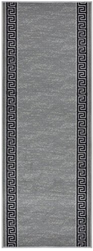 Custom Runner Meander Roll Runner 26 Inch Wide x Your Length Size Choice Slip Skid Resistant Rubber Back 5 Color Options (Grey, 25 ft x 26 -