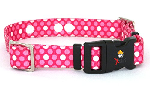 Invisible Fence Collar Compatible Heavy Duty Replacement Strap with the Rugged Lock-Easy Release Clip - Pink Dots | Medium Up to 18'' Neck (Also Compatible with Other Brands of Fence Collar) by Extreme Dog Fence
