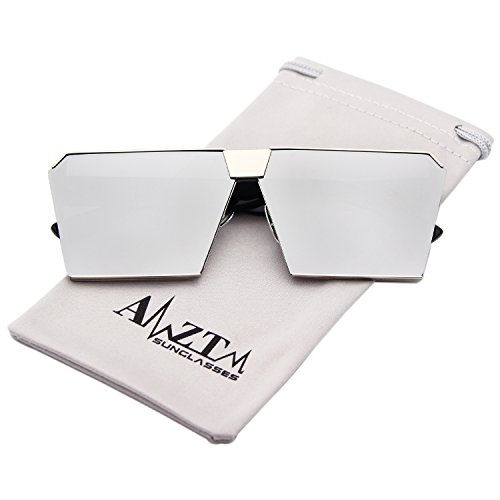 AMZTM Square Oversized Polarized Metal Frame Women Sunglasses Mirrored Reflective Lens (Silver Frame and Silver Lens, - Mirror Shades