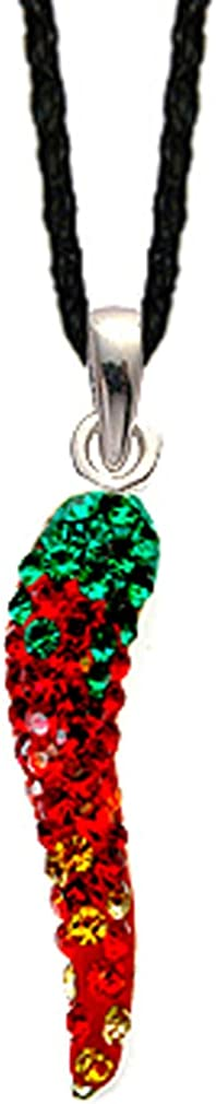 Silve hot chili pendant made of CZ glass stone crystal