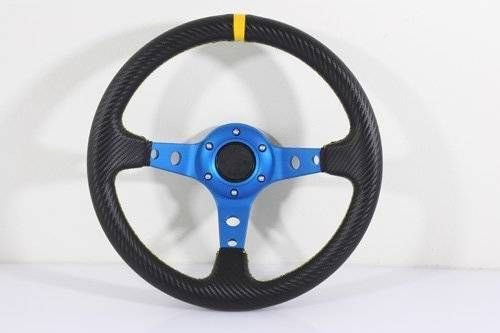 Yamaha Golf Cart & Polaris Rhino Blue Steering Wheel With Chrome Adapter 3 Spoke (Rhino Steering Wheel)