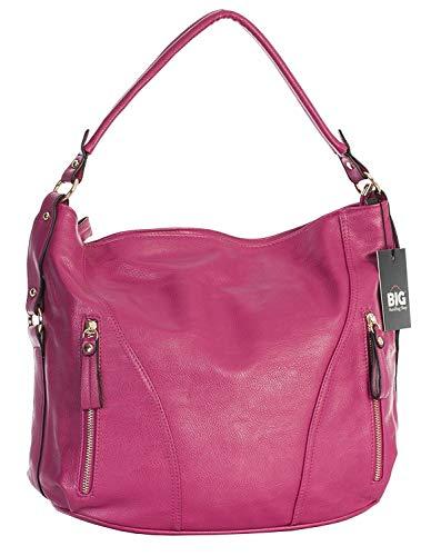 Big Handbag Shop Womens Top Zip Opening Plain Vegan Leather Multipurpose Zip Effect Large Shoulder Bag Hot Pink