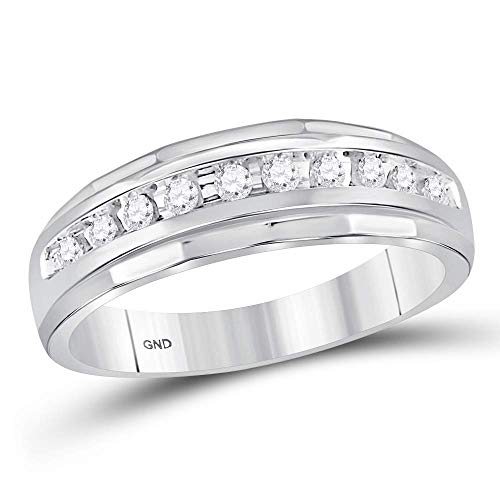 (Jewels By Lux 10kt White Gold Mens Round Diamond Single Row Grooved Wedding Band Ring 1/4 Cttw Ring Size 10)