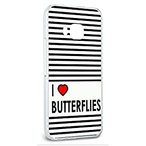 Snap On Protective Slim Hard Case for HTC One M9 I Love Heart Designs A-D - Butterflies