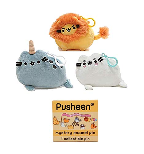 The Neko Cafe Gift Sets Pusheen Pusheenimals Backpack Clip Set of 3 - Narwhal, Seal, Lion - and Enamel Pin Set