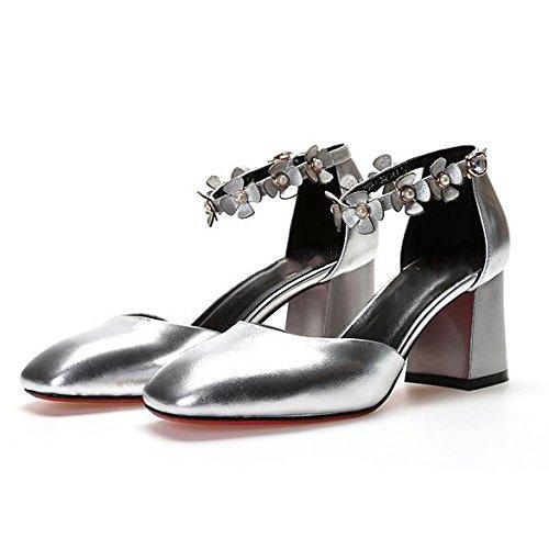 Sandali argento Alla Selvatici Alti Tacchi Quadrato DKFJKI Pelle in Moda Donna da Donna da Tacco Fibbie Fiore BYaw0