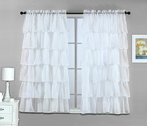 2 Piece White – Gypsy Crushed Ruffle Sheer Curtain Set – 108″ inch width by 63″ inch length