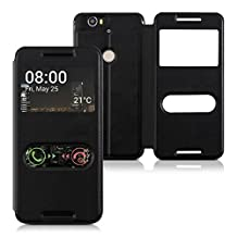 kwmobile flip case cover for Huawei Google Nexus 6P foldable protective case made of imitation leather with viewing window in black