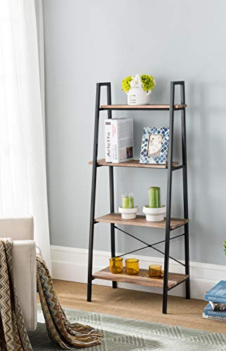 eHomeProducts Reclaimed Oak Finish Metal Frame 4-tier Ladder Shelf Bookcase Bookshelf Accent, Plant Stand Storage Garden, Bathroom (Oak Finish Stand Plant)