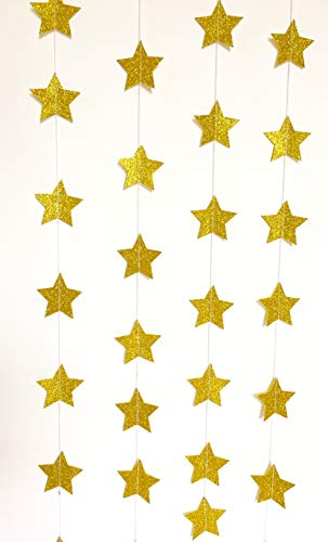 Golden Glitter Star Garland - Birthday Decorations for Girls,Birthday Decoration Items,Birthday Decorations Materials,Marriage Decoration Materials,Paper Garland Royal Decoration,Birthday Decorations -
