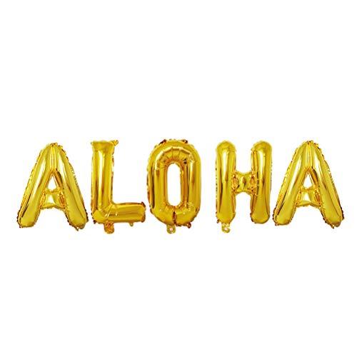 STOBOK 40 inch Aloha Letters Aluminium Foil Balloons Mylar Balloons for Hawaii Tropical Graduation Anniversary Celebration Party Decorations - Letter Aluminium