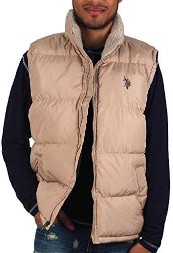 U.S. Polo Assn. Men's Signature Vest w/Sherpa Collar Desert Khaki Outerwear - Polo Big For Vest Men Pony