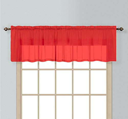 (Decotex Elegant Solid Sheer Voile Window Curtain Treatment Panel Drapes Or Scarf Valance in a Variety of Colors (1 Valance 55