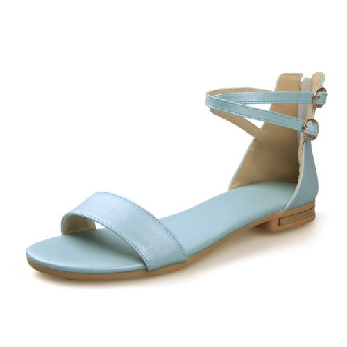 AmoonyFashion Womens Open Toe Low Heel Soft Material PU Solid Sandals with Zippers LightBlue