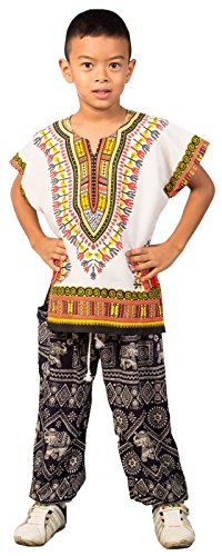 Lofbaz Unisex Child Traditional African Printed Dashiki White & Orange M by Lofbaz
