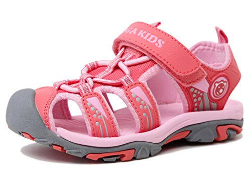 DADAWEN Boy's Girl's Outdoor Athletic Breathable Closed-Toe Strap Sandal (Toddler/Little Kid/Big Kid) Pink US Size 12 M Little (Us Size Chart Kids)
