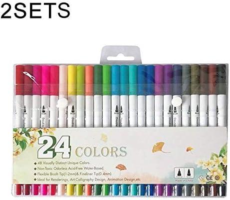 2セットの24色の単一の行のダブルヘッドのフックラインのペンのカラーマーカーソフトヘッド水彩ペンアートセットペイント子供ギフト用品