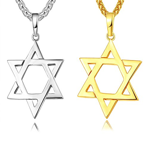 TTVOVO 18K Gold/Black Gun/Platinum/925 Sterling Silver Plated Megan Star of David/African Map Pendant Necklaces for Women/Men Hip Hop Jewelry