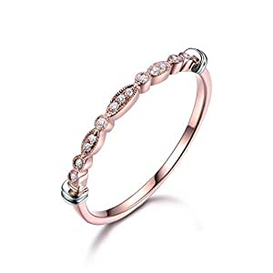 Diamond Wedding Band 14k Rose Gold Unique Half Eternity Marquise Milgrain Stackable Ring Vintage