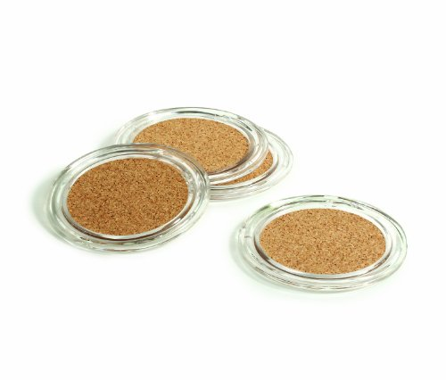 Spectrum Diversified Coasters, Set of 4, Clear Acrylic and Cork