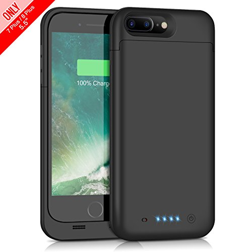 iPhone 7 Plus 8 Plus Battery Case 7000mAh Capacity, Gixvdcu Extended Battery Power Charger for iPhone 7Plus 8 Plus (5.5inch) 4 LED Indication Ultra Slim Portable Charging Cover – Black by Gixvdcu