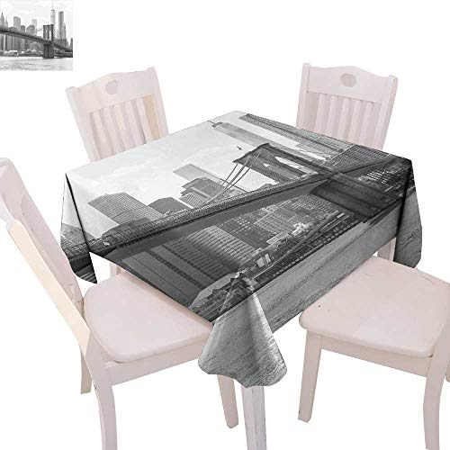 (cobeDecor Landscape Stain Resistant Wrinkle Tablecloth Photo of Brooklyn Bridge Over East River and Tall Buildings Skylines at The Back Square Wrinkle Resistant Tablecloth 54