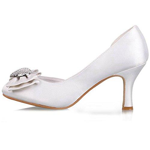 Minishion Dames Amandel Teen Satijn Avondfeest Bruids Bruiloft Strass Pumps Wit