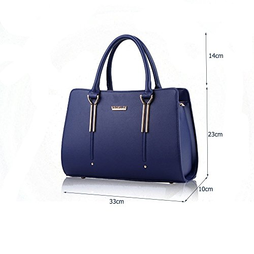 Ladies Designer Handbags Leather Large Blue Faux Tote Shoulder Women's Bag Sine90 Shopper Wqxg10An