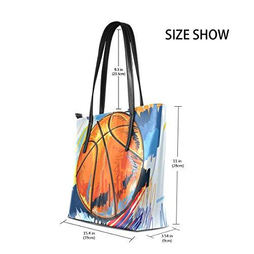 COOSUN Basketball Malerei PU Leder Schultertasche Handtasche und Handtaschen Tasche für Frauen