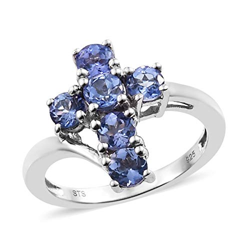 (Round Tanzanite Cross Ring 925 Sterling Silver Platinum Plated Gift Jewelry for Women Size 8 Ct 0.9)